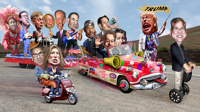 clown car parade of political figures