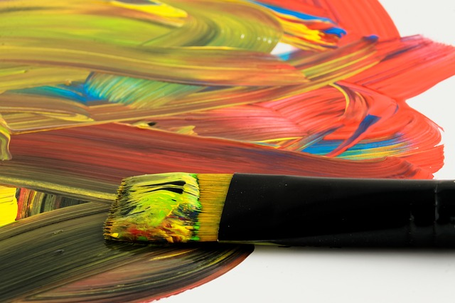 paintbrush and mixture of paint