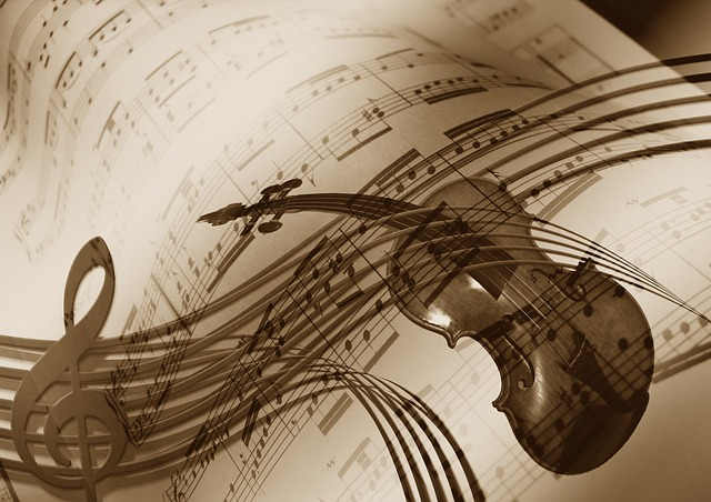 violin on top of musical chords