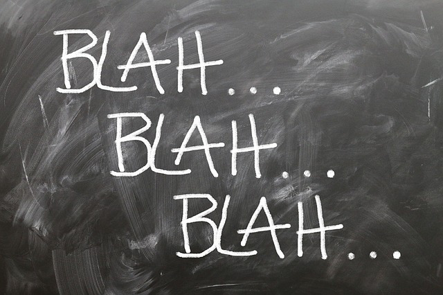 the words, blah, blah, blah
