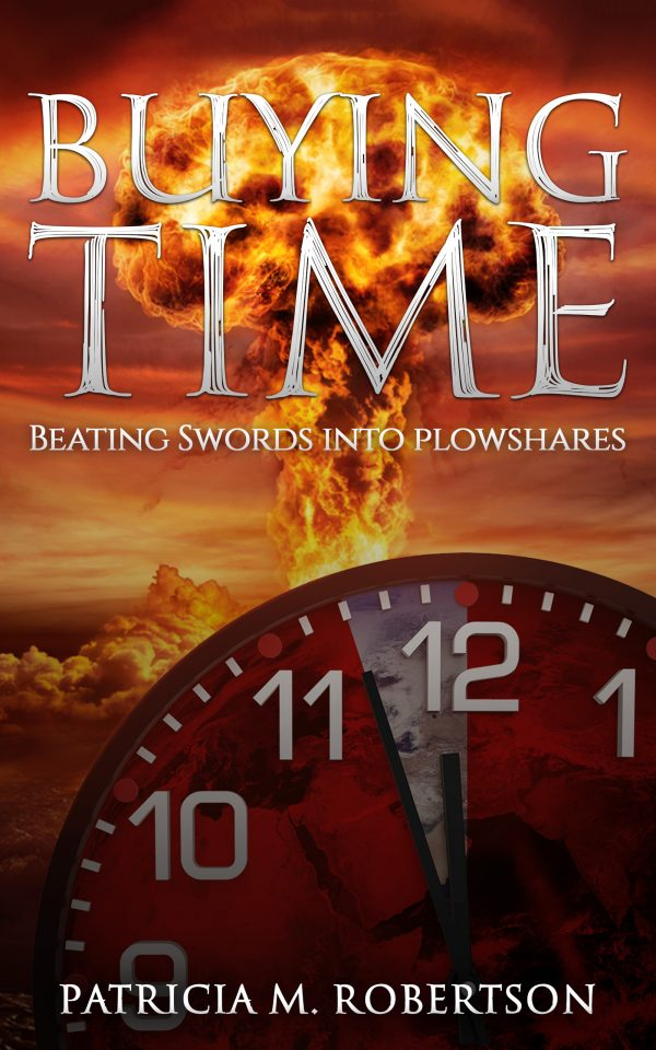 clock at 3 minutes to midnight in front of nuclear mushroom cloud