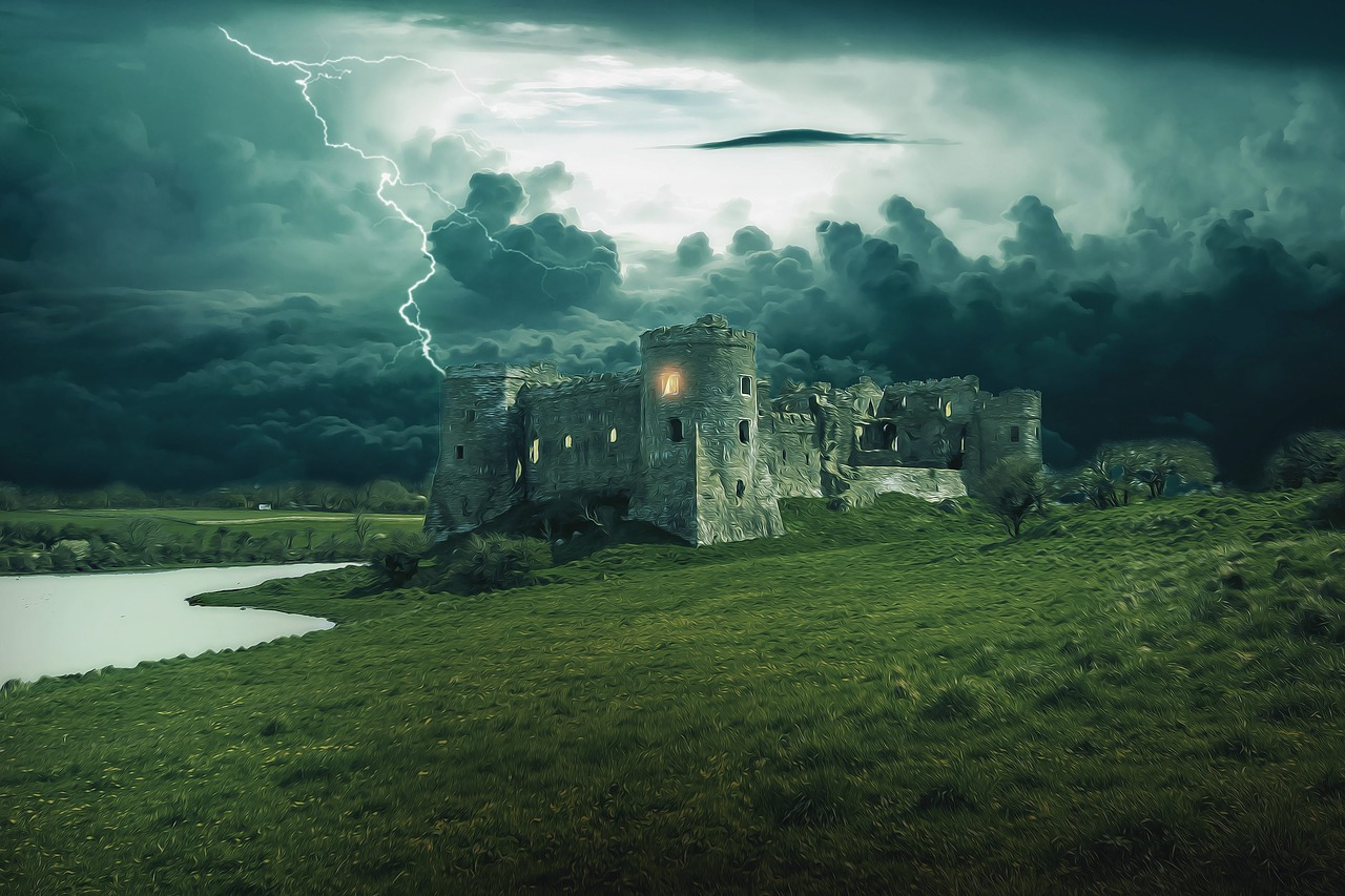 King Lear's castle in the midst of lightning