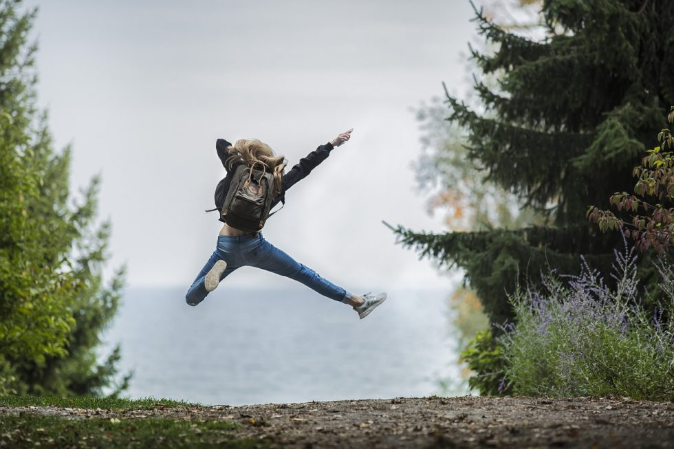 person jumping for joy