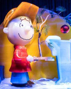 Charlie Brown holding ugly Christmas tree