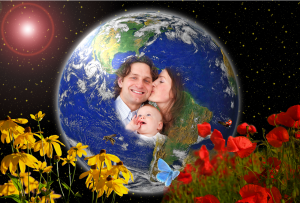 laughing family in world globe
