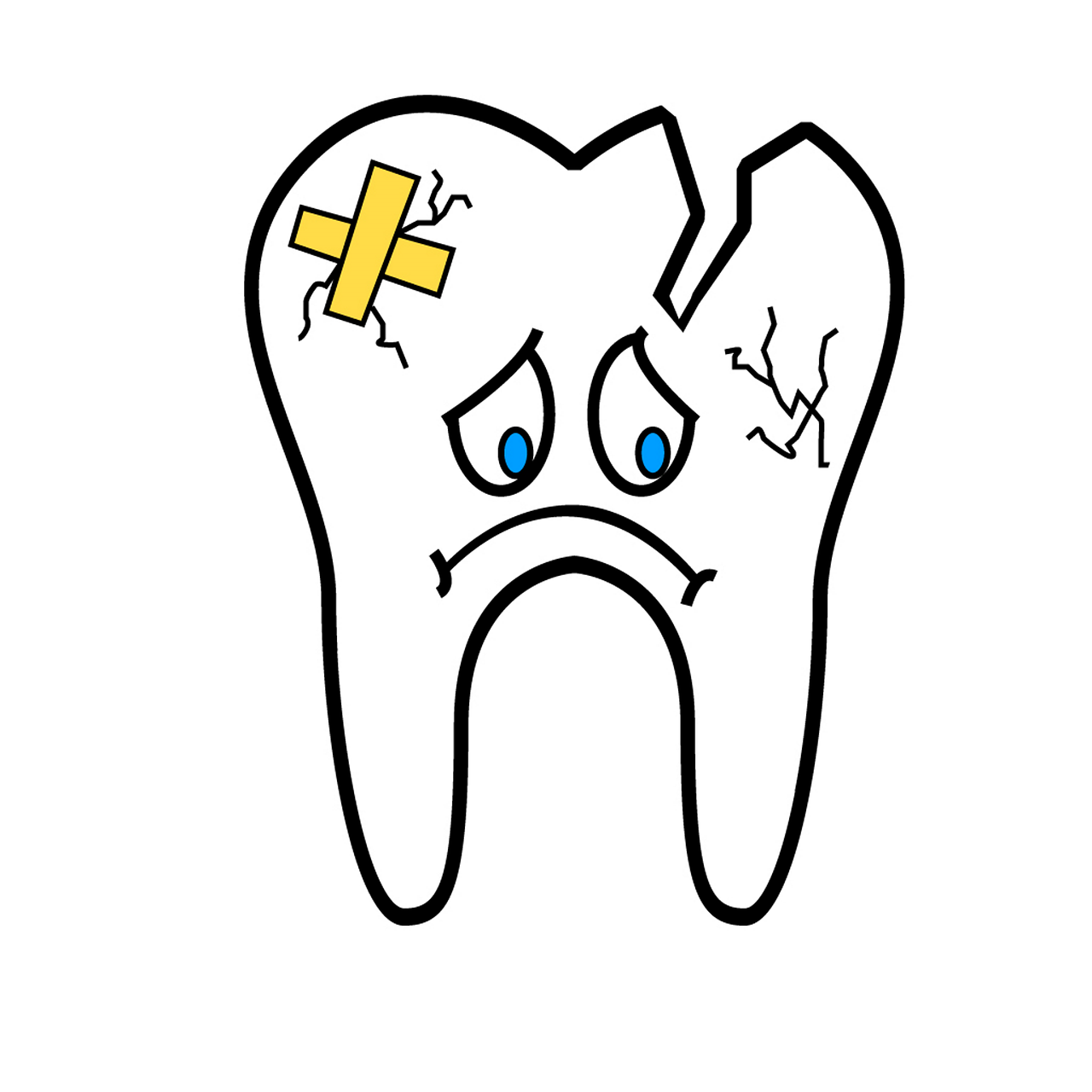 a broken tooth frowning