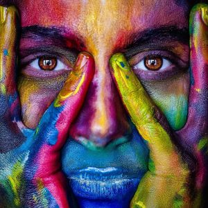 face with multi-colors